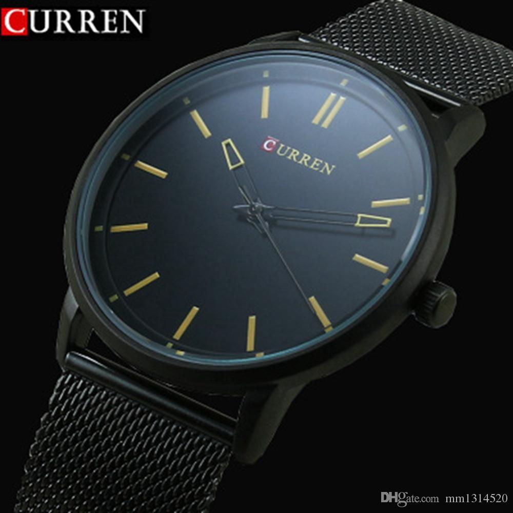 e23240189f46 Compre Moda Top Marca De Lujo CURREN Relojes Hombres Correa De Malla De  Acero Inoxidable Reloj De Cuarzo Reloj Ultra Thin Dial Hombre Relogio  Masculino A ...