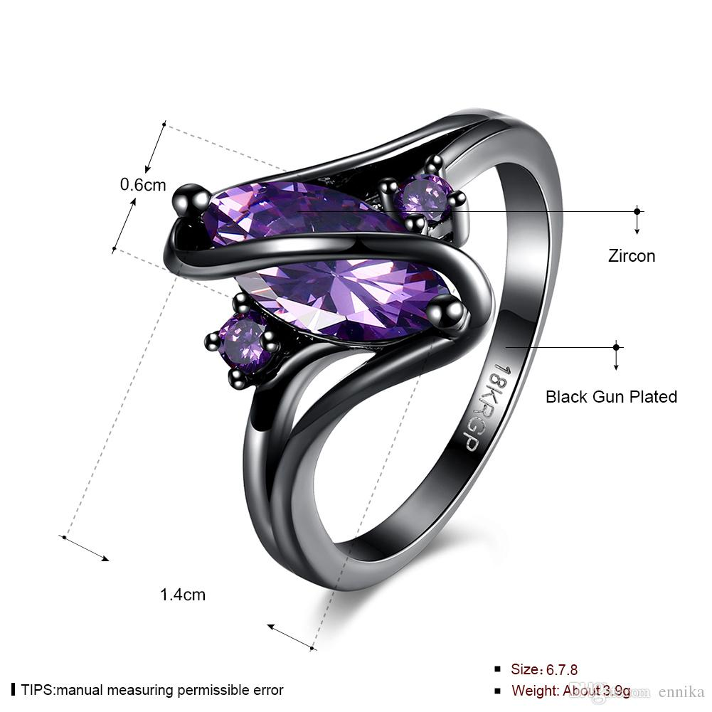 Crystal Ring 18K Gold Plated Ring , Pretty S Shaped Black Gun Gold Rings Size 6 7 8 For Women Jewelry r868