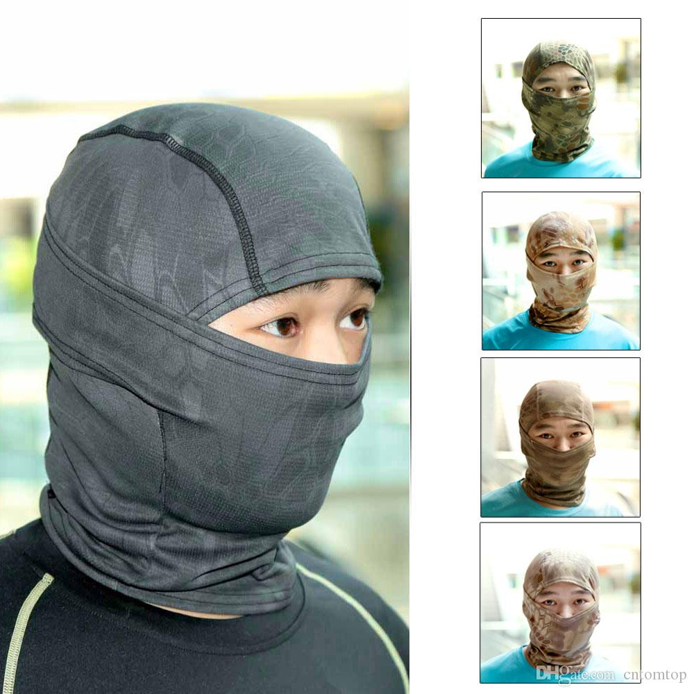 Full face mask neck warmer hood balaclava outdoor winter sports hats - Men Winter Outdoor Wind Cold Full Face Cover Protection Nylon Mask Headgear Rattlesnake Tactical Cap Hat Neck Warmer Cs Y1199