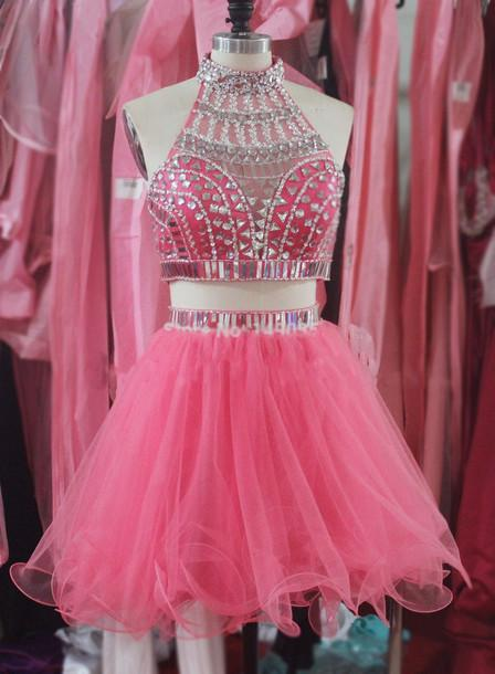 Hot Sale Two Pieces Short Graduation Dress High Neck Beading Crystals A line Party Homecoming Dress High Quality