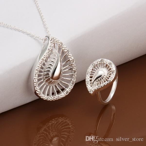 Haute qualité 925 en argent sterling Hollow gouttes d'eau Set bijoux ensembles DFMSS495 Usine vente directe mariage 925 collier en argent bague