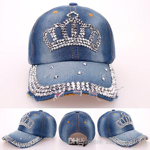 4894753cd4f Fashion Korean Rhinestone Bling Crown Caps Adjustable Washed Denim Baseball Caps  Women Cowboy Hats Fancy Summer Headwear Ladies Sun Visor Kids Hats Ball ...