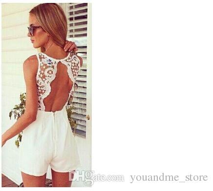 Mode Summer Lace Combinaisons Barboteuses Femmes Sexy Sans Manches Backless Short pants