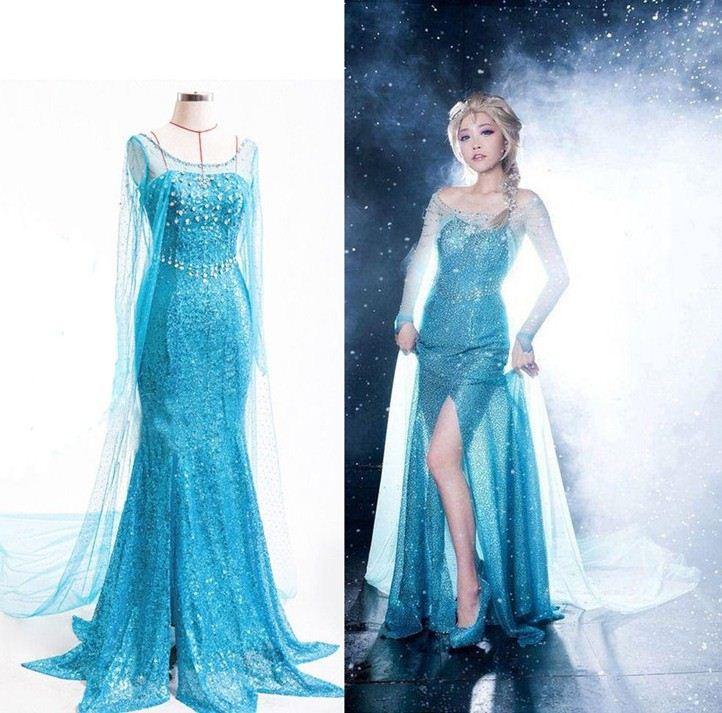 2017 New Christmas Dress Frozen Elsa Dress Blue Dress Adult Adult ...