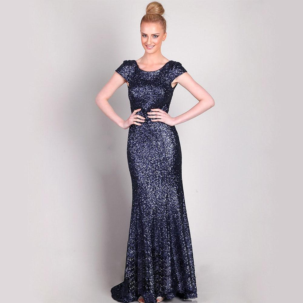 Sparkle Navy Blue Sequined Mermaid Prom Dresses Party Evening Cap ...