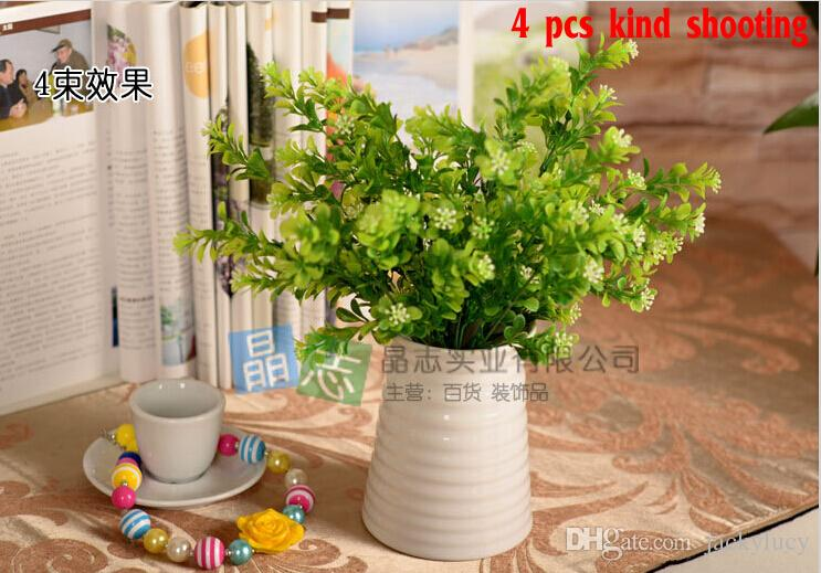 Beautiful Artificial Green Milan Plastic Plant Leaf Diy Craft Ornament 7 Branches Bouquet Home Decor Fake Flower