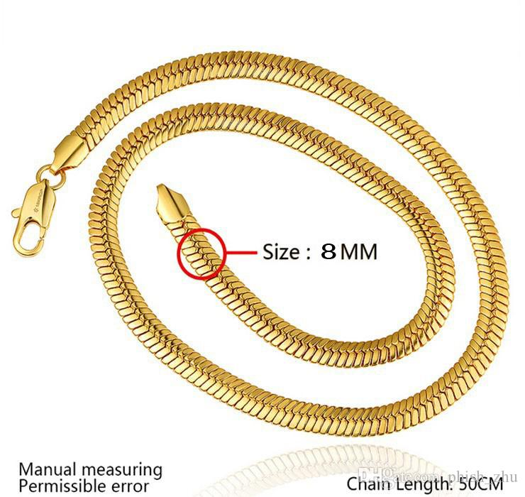 Top Quality 18K Real Gold Plated Chains For Necklace European and American Popular Men Snake Chains Perfect Christmas Gift