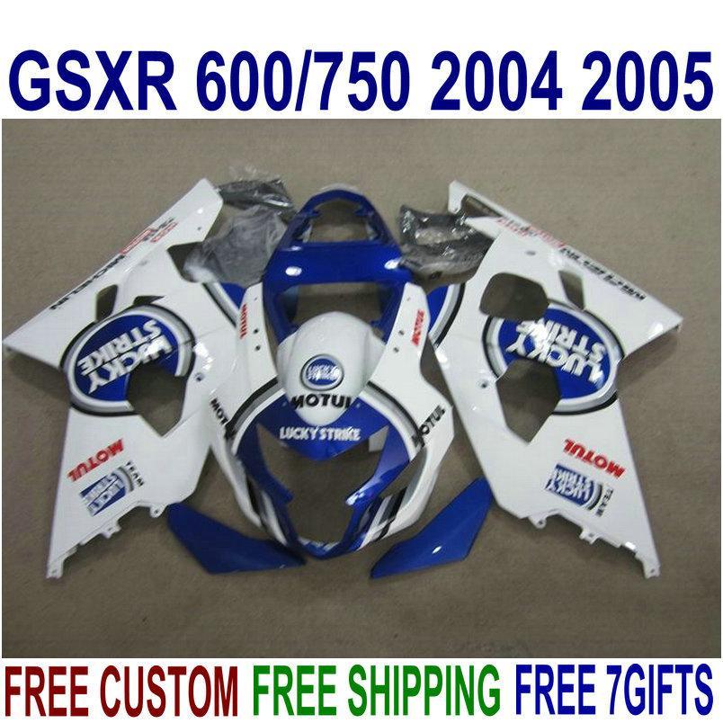 Juego de carenado ABS para SUZUKI GSXR600 GSXR750 2004 2005 K4 GSX-R600 / 750 04 05 juego de carenados de alta calidad LUCKY STRIKE azul blanco R47J