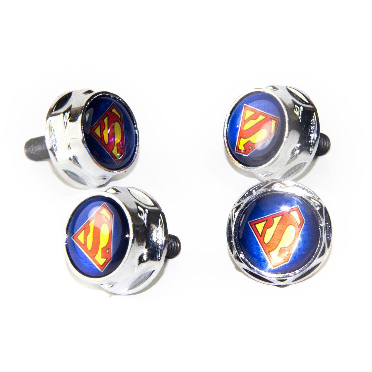 4pc / set Universal Superman Kfz-Kennzeichen Nuts Bolzen Schrauben für alle Modell Lexus Infiniti Benz Chevrolet Cadillac Mercede Benz Standard ...