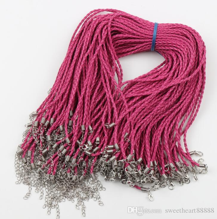 100 teile / los 9 Farben Geflochtene Schwarz Königsblau Rosa Leder Verschluss Ketten Halsketten 0,3x46 cm Schmuck DIY