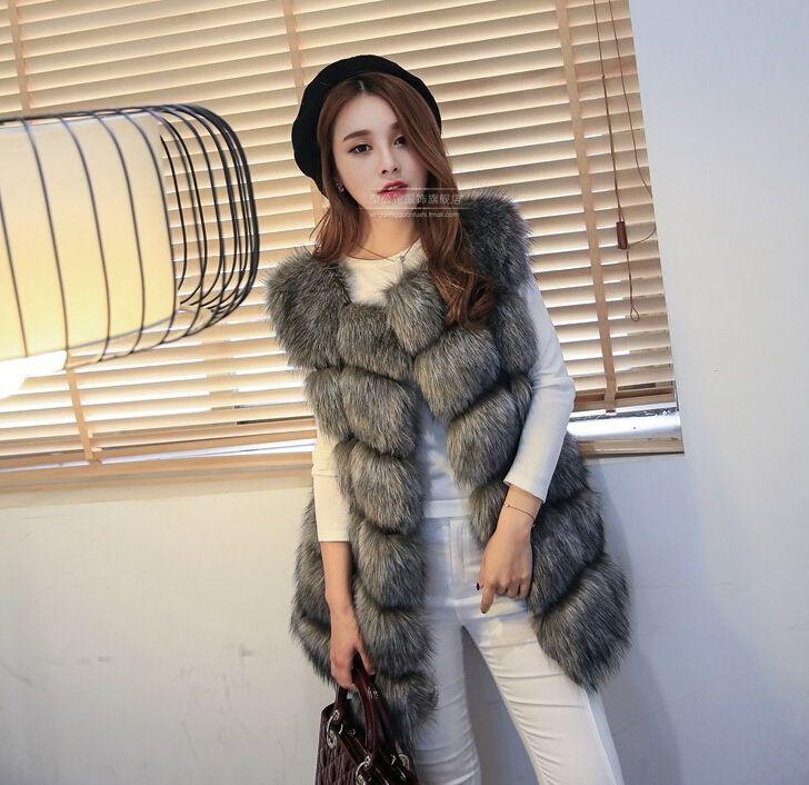 2018 Winter Women Plus Size Faux Fur Coat Fashion Long Vest Jackets Faux Fur Vest Ladies Outwear Fur Coats for Women