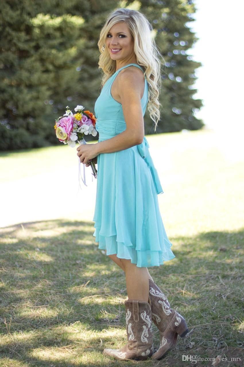 2018 lumière ciel bleu pays demoiselle d'honneur robes court col de bijou pas cher occidental mariage usure plus la taille genou longueur formelle robes de soirée