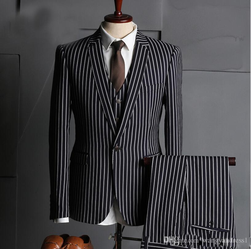New Arrival Custom made Handsome Tuxedos Three Pieces Formal Suits Slim Fit Business Wears Pinstripe Groomsman suits Jacket+Pants+vest