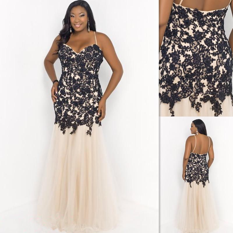 2015 Classic Champagne And Black Plus Size Prom Dresses Spaghetti ...