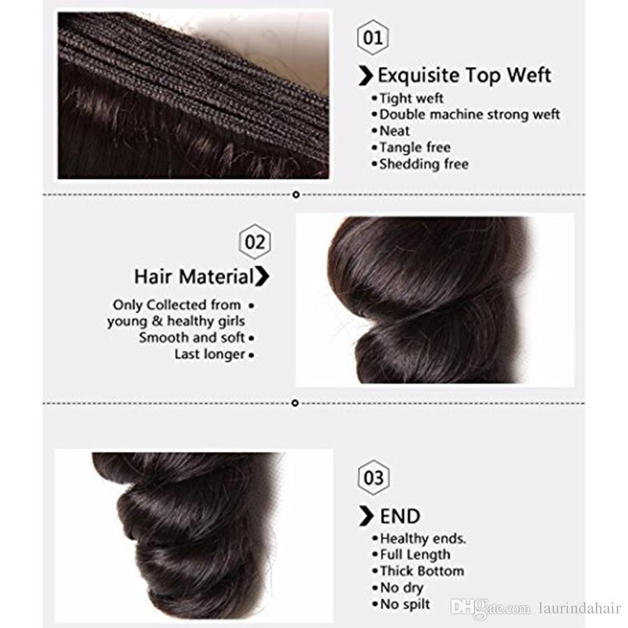 7A Human Hair Weaves with Closure Brazilian Loose Wave Human Hair Weft With Top Lace Closure Black Loose Wave Hair Bundles