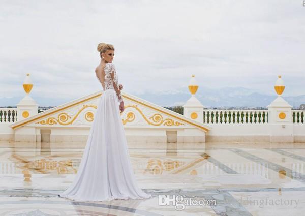 2019 년 섹시한 해변 웨딩 드레스 깎아 지른 레이스는 긴 소매 씨실 v 목 뒤 까다로운 분할 쉬폰 신부 가운 흰 드레스