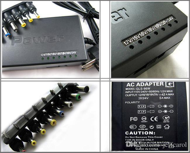 Sıcak Evrensel 96 W Dizüstü Dizüstü 15 V-24 V AC Şarj Güç Adaptörü ile perakende kutusu ile 8 konnektörleri Ücretsiz Kargo