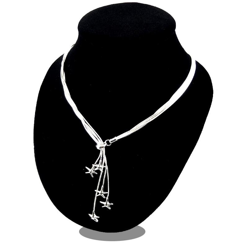 Promotion Sale 925 silver chain necklace Christmas fashion 925 Silver 5 Starfish necklace jewelry hot sale 1354