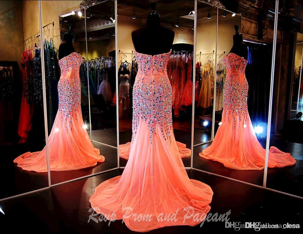 2015 Real Pictures Sparkling Mermaid Prom Dresses Evening Gowns With Crystals Sweetheart Chiffon Beaded Glitz Pageant Dress with Rhinestones