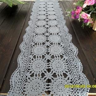 zakka fashion design cotton crochet lace table runner for coffee table home deocr cutout tablecloth mat blue with tiny def flower table runner french