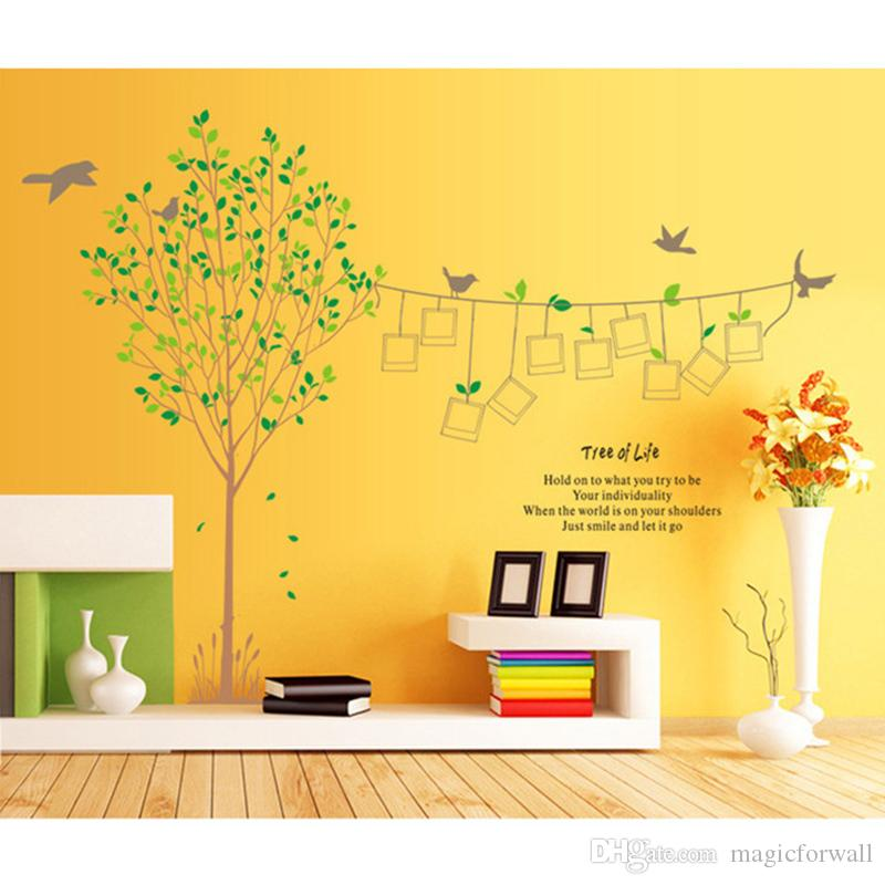 Large Memory Tree Wall Quote Art Sticker Photo Frame and Birds Wall Decal Removable Wallpaper Murals Sticker for Living Room Bedroom