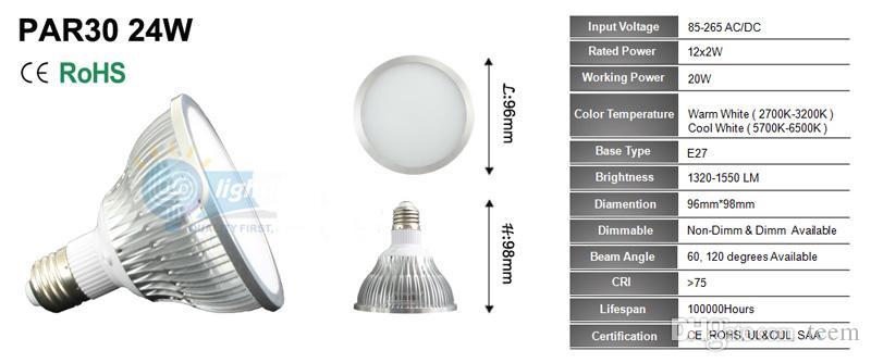 Faretto a LED dimmerabile par38 par30 par20 par20 85-240V 12W 24W 36W E27 par 20 30 38 Illuminazione a LED Spot Spot light downlight 20