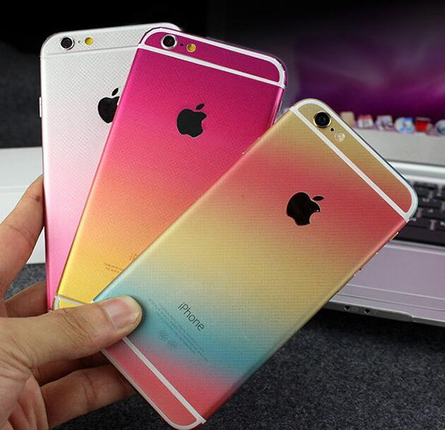 Full body sticker cases for iphone 6 6s plus graduated color front back decal ultra slim film cover cases funda capa capinha cell phone cases cheap custom