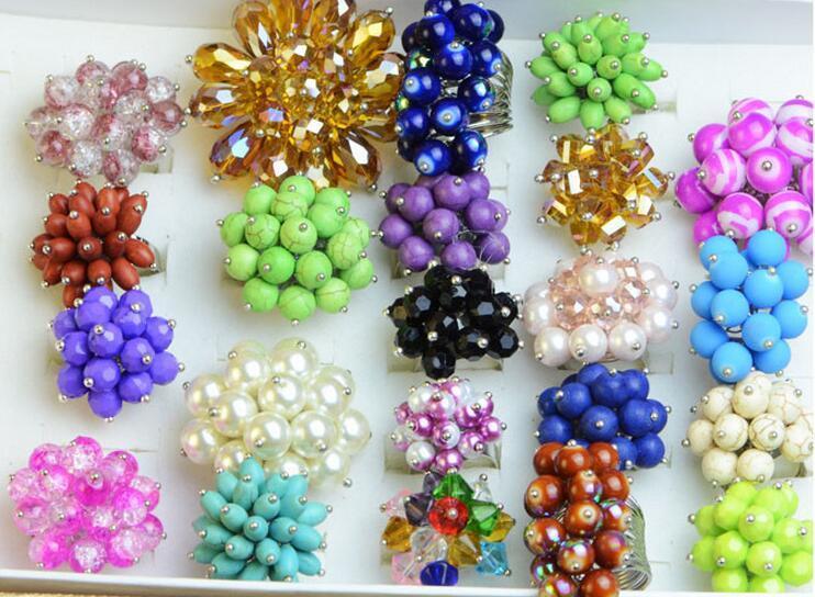 / MIX Style Crystal Fashion Rid Ring para DIY Joyería Regalo Artesanía RI57