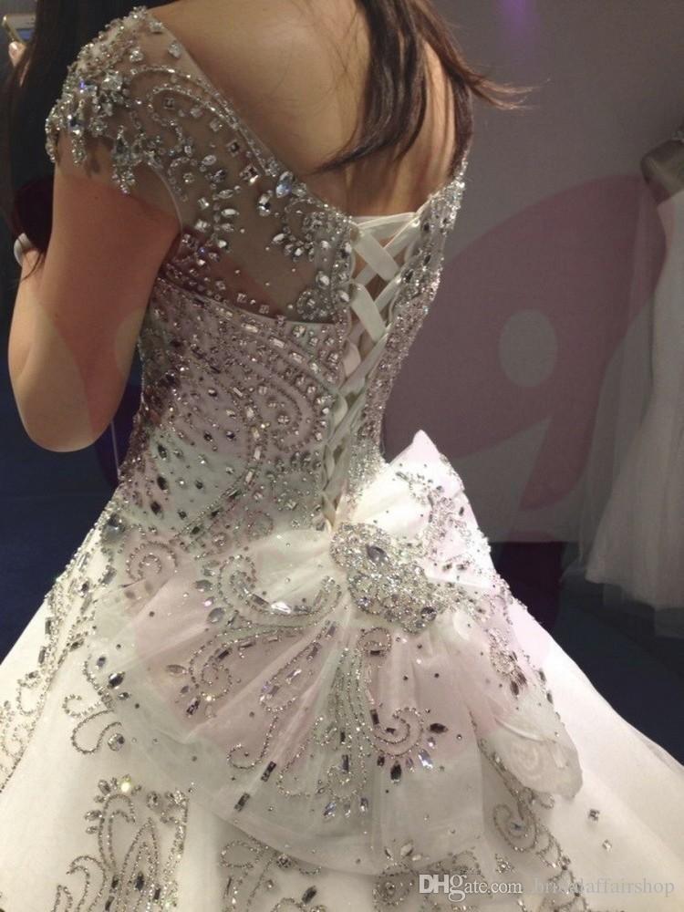 2018 новый дизайнер высокое качество-Line свадебные платья бальное платье великолепный и Cap рукава с V-образным вырезом кристаллы свадебные платья