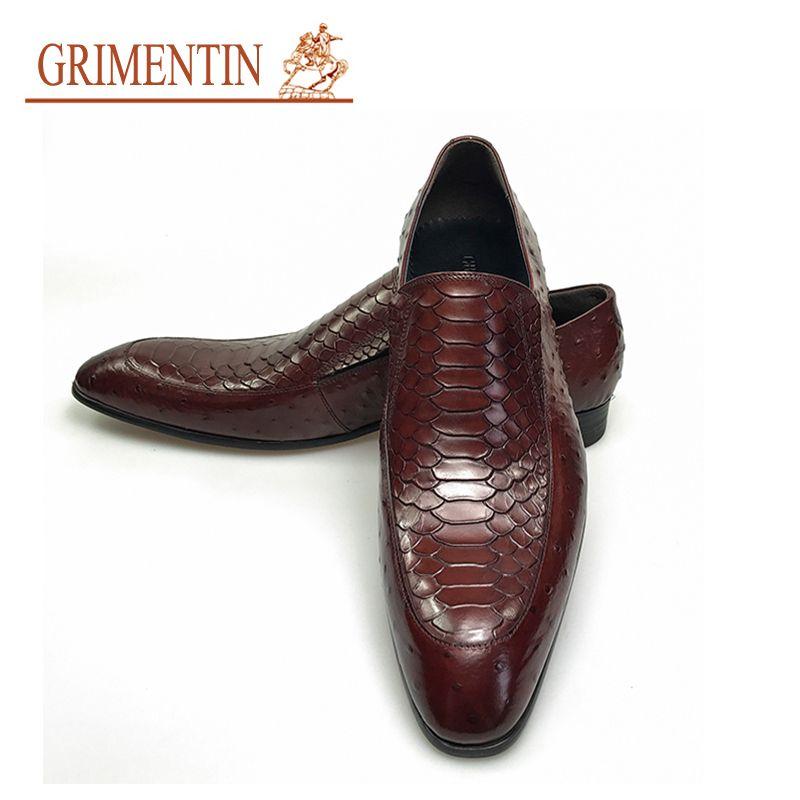 4380706b78d Compre GRIMENTIN Moda Italiana De Lujo Oxfords Hombres Zapatos De Oficina  De Negocios Zapatos De Cuero Genuino Zapatos De Hombre Diseñador Negro  Marrón ...