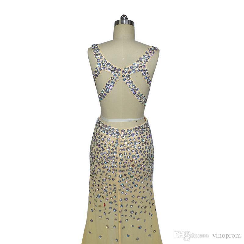Vestidos Longos Para Con cuentas Formatura Sirena Champagne Sweetheart Side Slit gasa con cuentas Vestidos de noche formal 2018