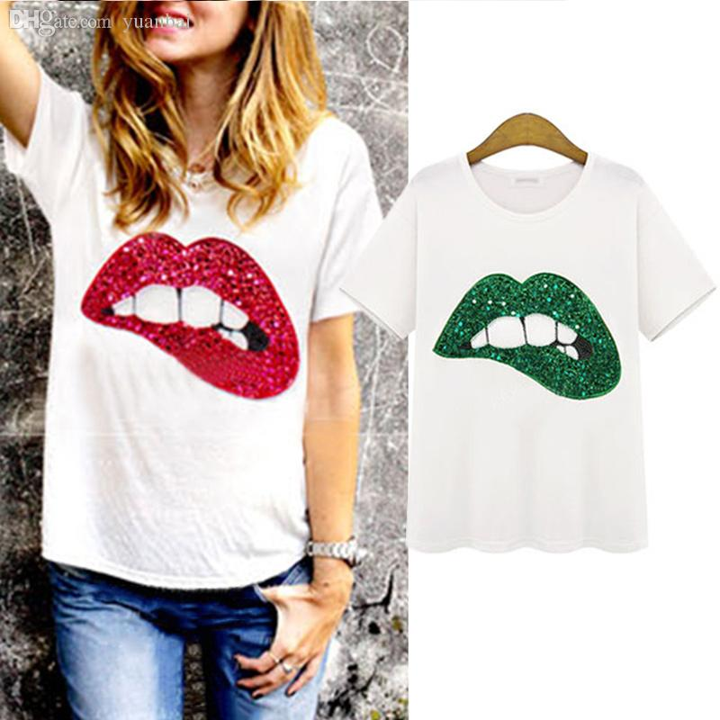 Wholesale-2 Colors Plus Size S-XL New Fashion Women Short Sleeve Top Tees 2015 Summer Sequined Lip Print Loose Cotton T-Shirts X60*E3434
