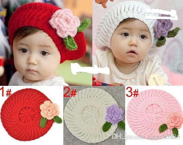 дети шапки, девушки ручной работы берет колпачок цветок вязать шляпу / детские вязаная шляпа 3 цвета, 10 шт. / лот