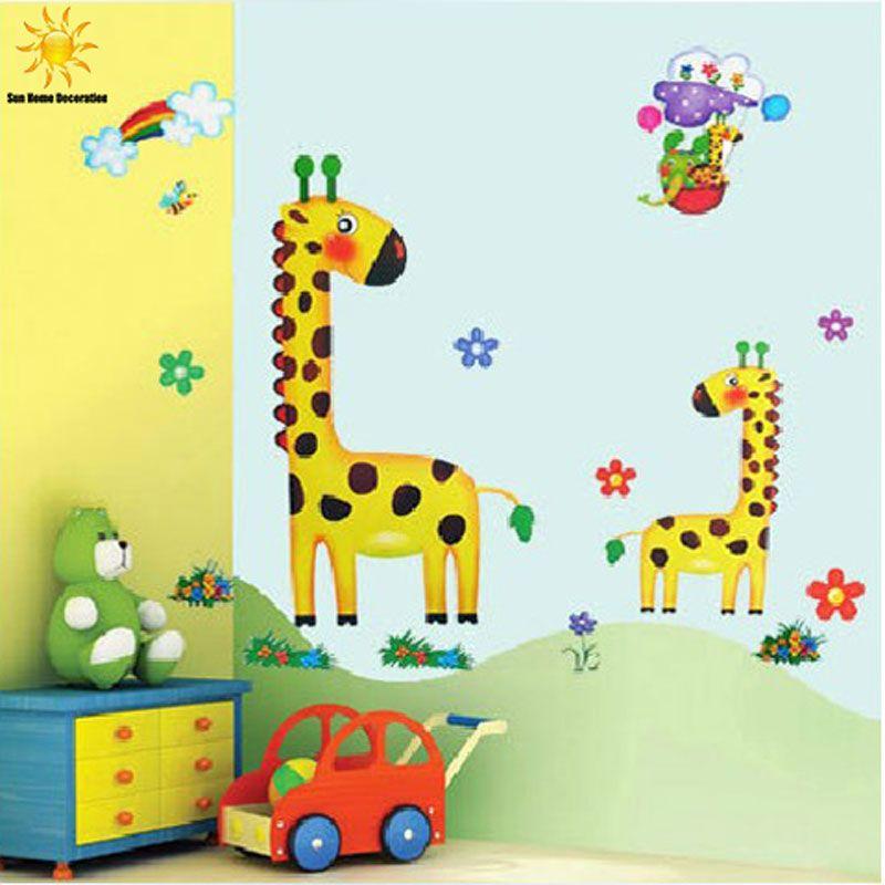 Giraffe Cartoon Wall Sticker Children\'S Room Wall Stickers For Kids ...