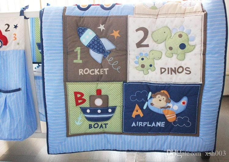 2016 selling! Baby boy bedding set 100% cotton Embroidery car Sea turtles letter Crib bedding set Quilt Bumper Bed skirt Cot bedding