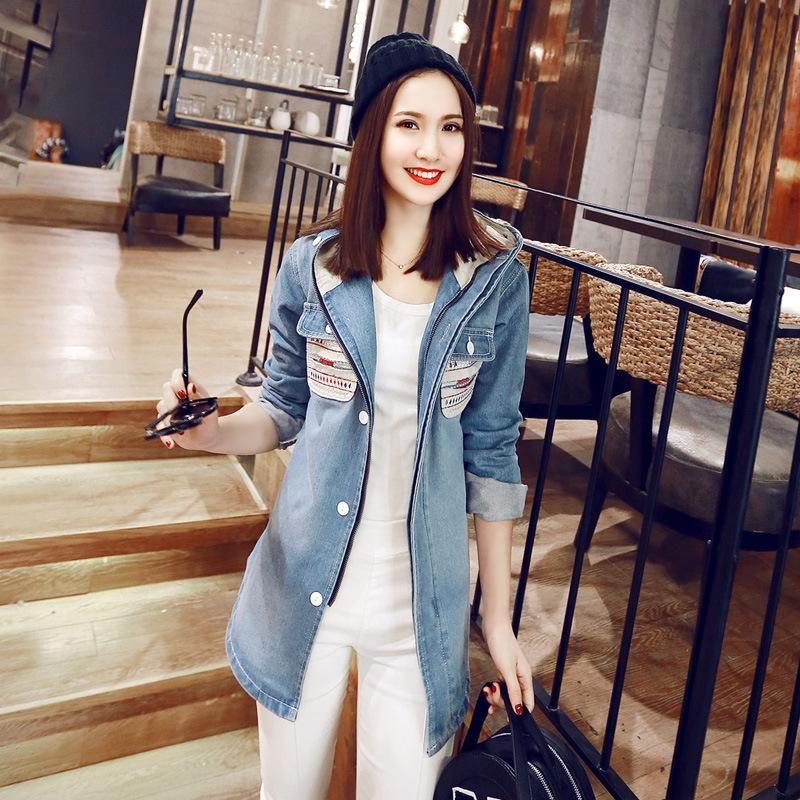 2015 Women Jeans Jackets Formal Long Sleeve Hooded Fashion Denim ...