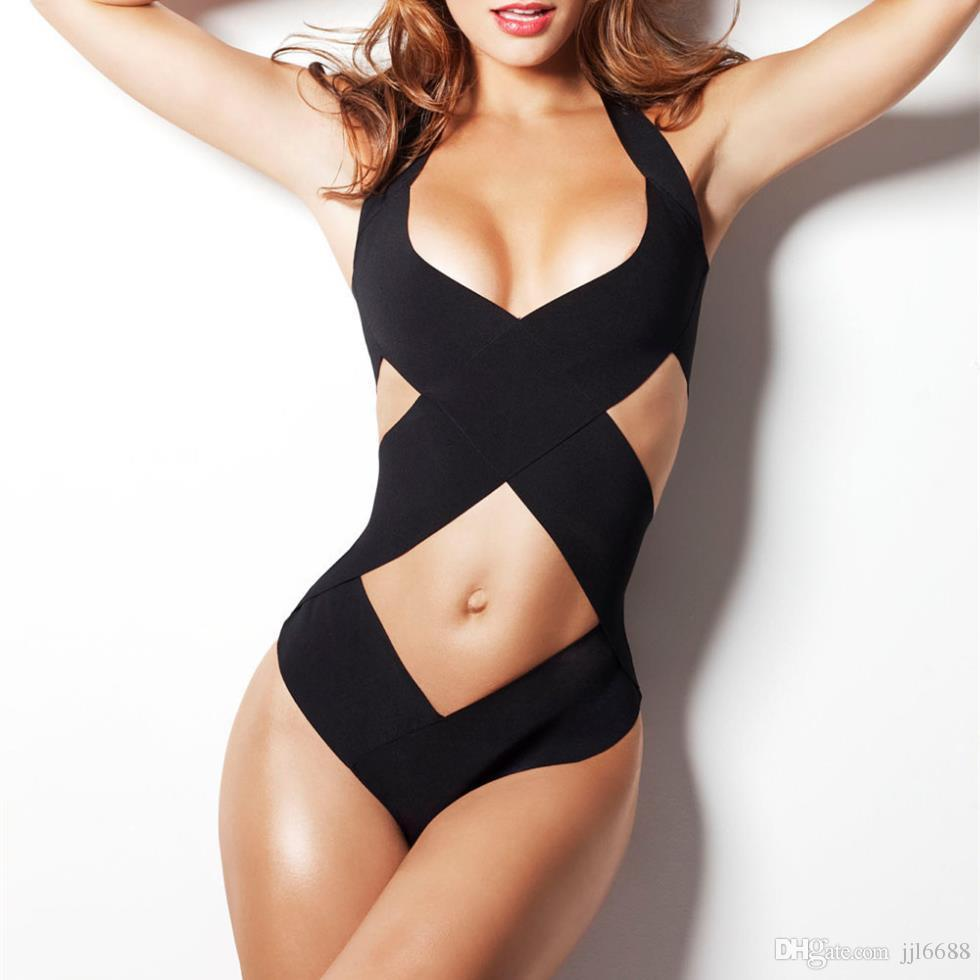 c391be611851 2019 Black Bandage Strappy Sexy One Piece Swimwear Women One Piece Swimsuit  Bathing Suit Swimsuits Front Wrap Women Moda Praia From Jjl6688, $16.5 |  DHgate.
