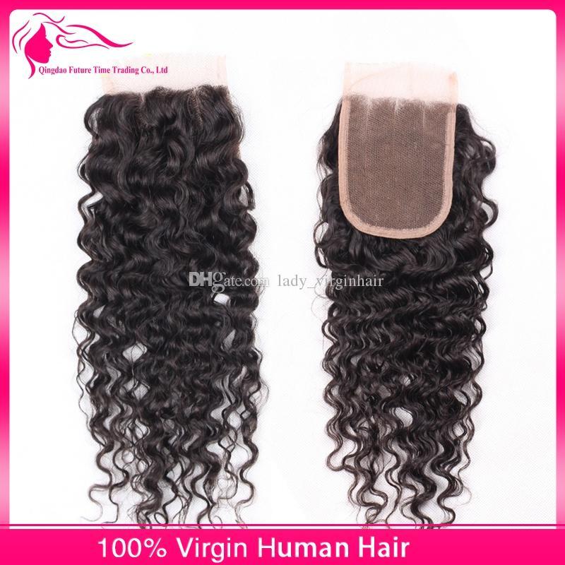 Pelo humano rizado 1 pieza de cierre superior de encaje con 3 piezas de paquetes de cabello 4 piezas lote de onda profunda rizada mongol sin procesar Color natural del cabello humano