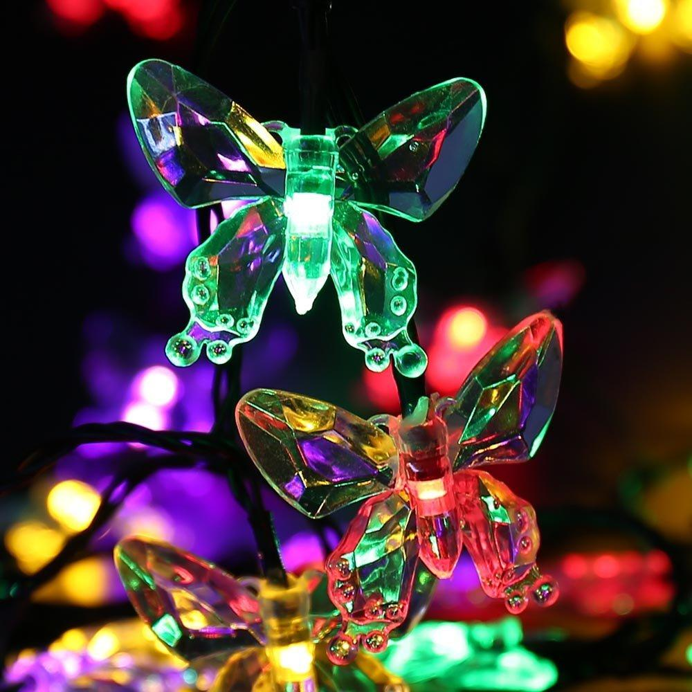 Solar christmas decorations - Solar Christmas Lights 4 8m 16ft 20leds Butterfly Fairy String Light For Xmas Tree Garden Wedding Party Porch Bedroom Outdoor Led String