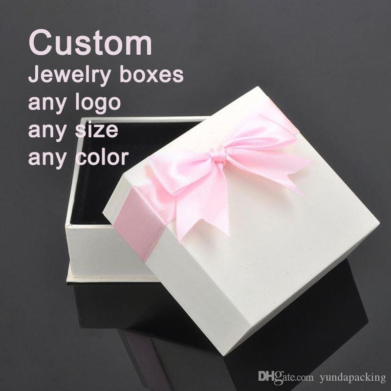 Custom High End Jewelry Boxes White Gift Wrapping Paper Bow Pendant