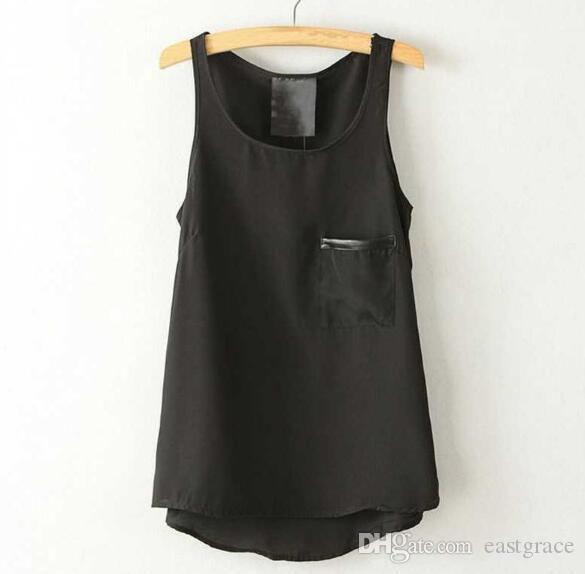 Ladies tops vests Leather bag chiffon vest Womens t shirts Sexy black sleeveless vest European style fashion chiffon clothes for womens