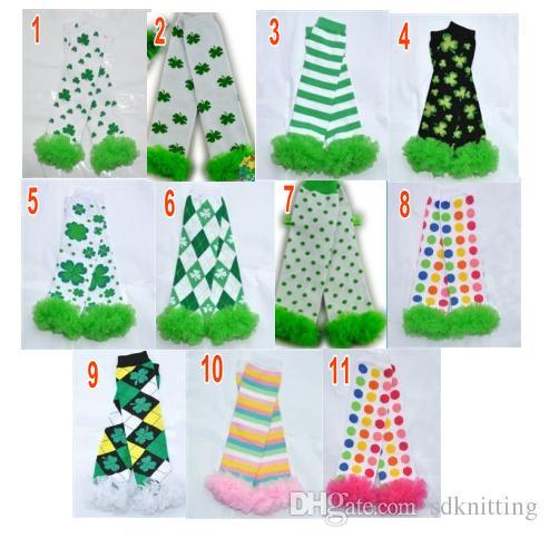 fa9cc1aa794 Wholesale Argyle Stripe St. Patrick S Day Chiffon Ruffle Leg Warmers Baby S  Girls Boys Kids Four Leaf Leggings Can Mix Color Half Toe Socks Socks ...