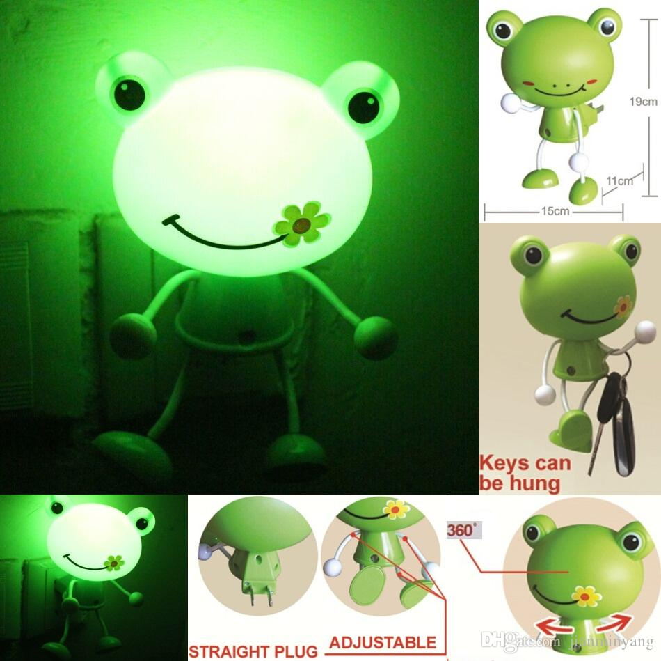 2017 cute 3d frog led decoration photoreceptor nightlight bed lamp