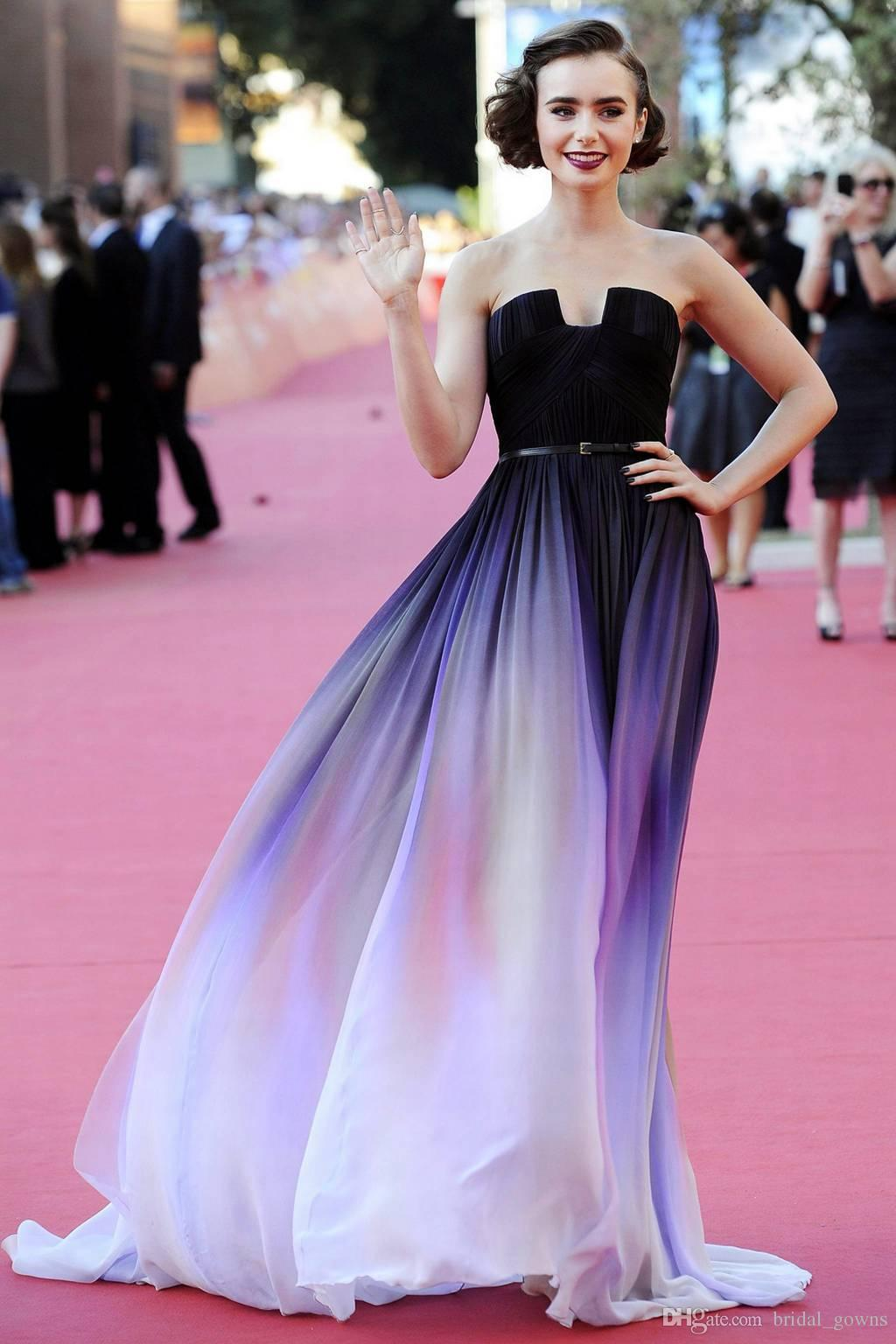 2015 elegant elie saab ombre chiffon beach empire prom - Designer red carpet dresses ...