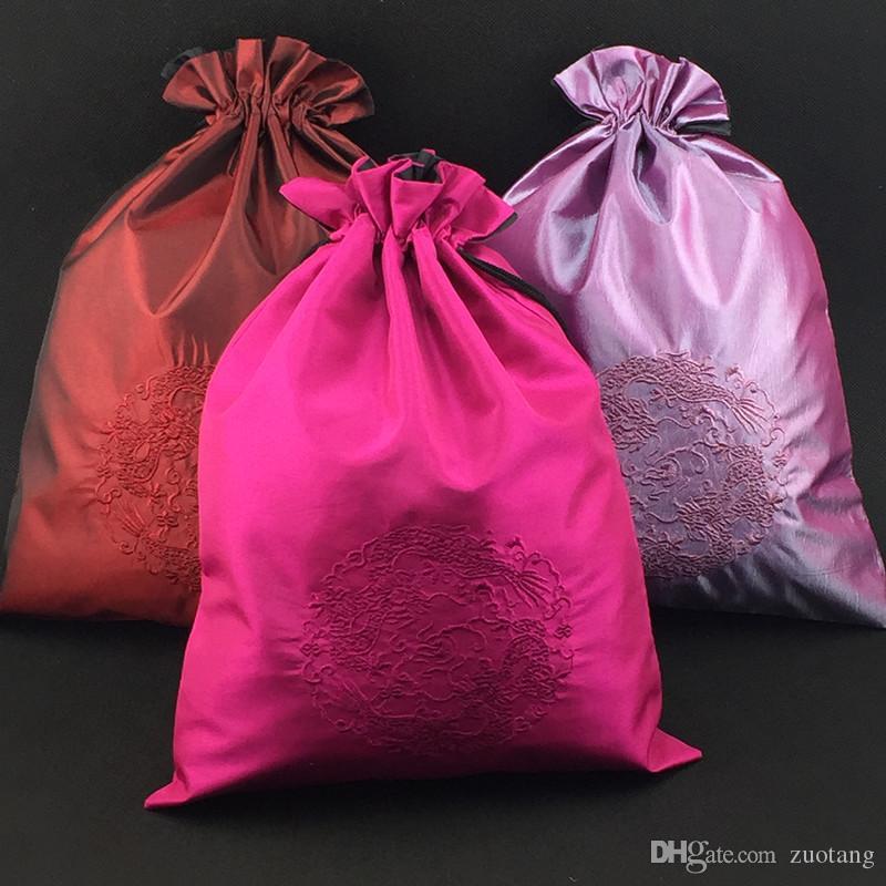 Вышивка Дракон портативный хранения обуви сумка путешествия защитный чехол китайский стиль шнурок шелковые ткани трусы мужская нижнее белье пакет сумка