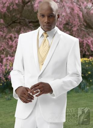 Custom Made Generous White And Gold Vest Tie Groom Tuxedos ...