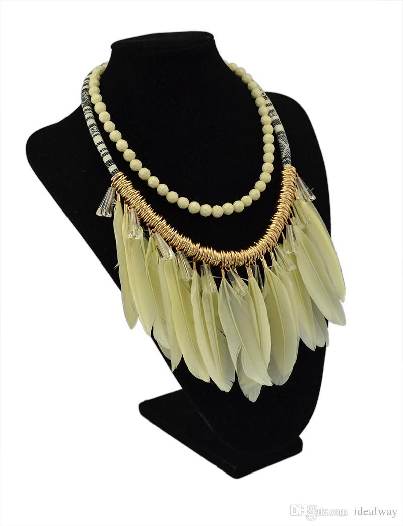 Винтажный стиль бык Кристалл смолы бусины перо кисточкой кулон плетеный Канат цепи серьги ожерелье комплект ювелирных изделий