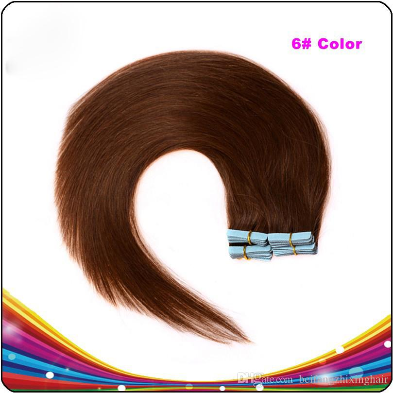 "7A Wholesale - 14"" - 24"" 100% Human PU EMY Tape Skin Hair Extensions 2.5g/pcs &100gcolor #6 light brown DHL FREE"