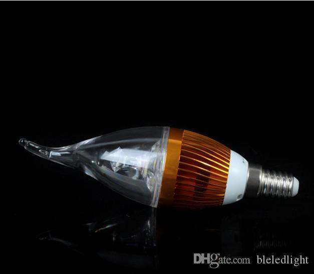 E14 E12 E27 B22 Plata y vela de cola Lámpara de luz LED Bombilla 9W Regulable Blanco cálido Blanco frío, Envío gratis