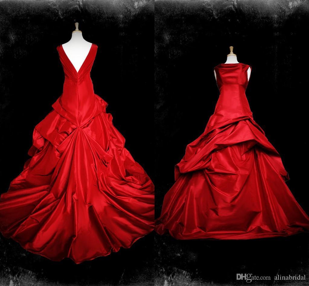 Vestidos De Casamento Vermelho gótico 2016 Beteau Cap manga Drapeado Babados Trem Da Varredura Tafetá Vestidos de Festa Plus Size Vestidos de Noiva Do Vintage